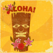 Vintage Hawaiian postcard - Stock Vector