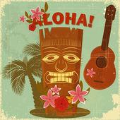 Vintage postcard hawaïen — Vecteur