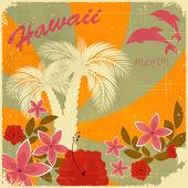 Cartolina d'epoca di hawaiano — Vettoriale Stock