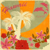 Vintage Hawaiian postcard — ストックベクタ