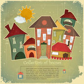 Collection of houses on vintage background — Stock Vector