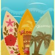 Vector de stock : Surfboards on beach