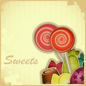 Sweet candy on Retro background — Stock Vector