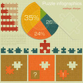 Puzzle infographics set — Stock Vector