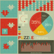 Elements of puzzle for infographic — Vector de stock