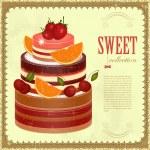 Big Chocolate Fruit Cake — Stock Vector