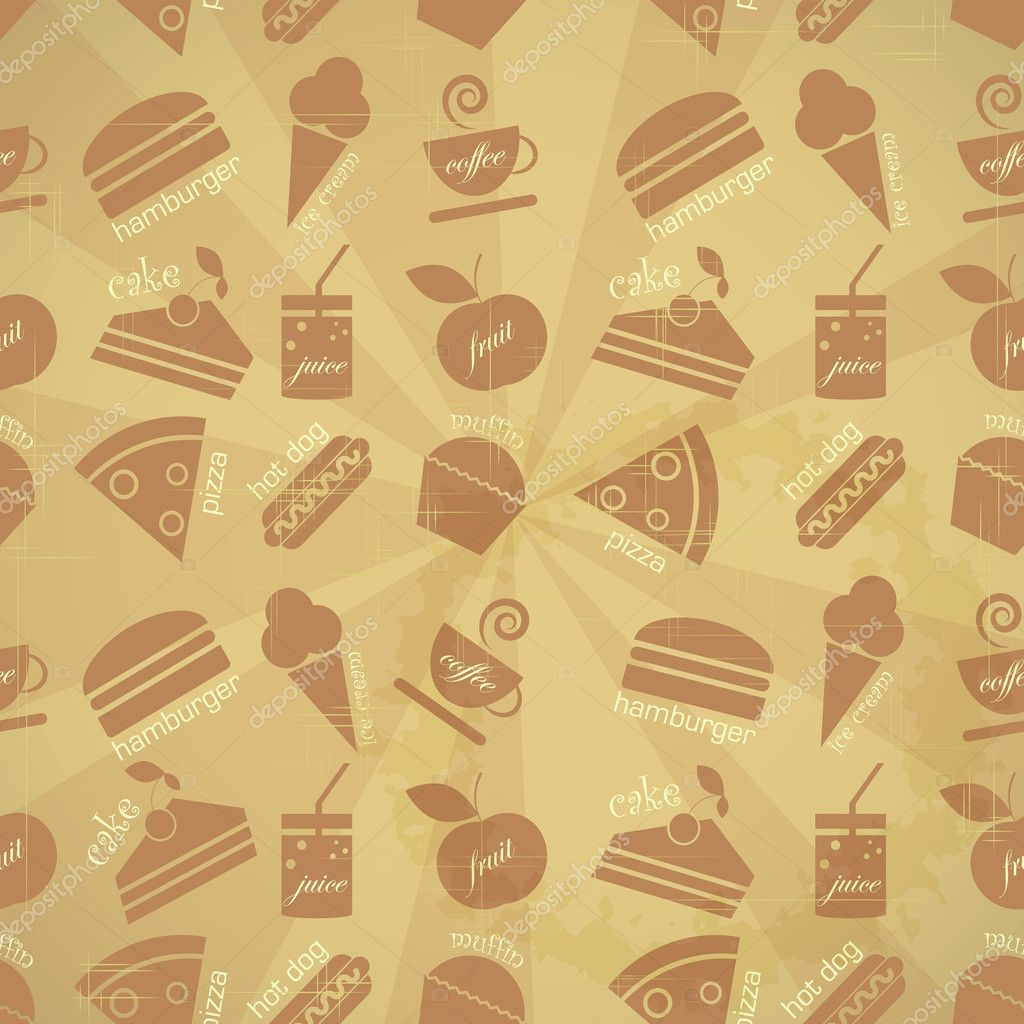 Retro seamless background - food icons in vintage style - vector illustration — Stock Vector #10468543