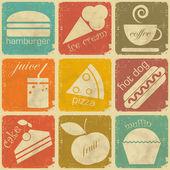 Conjunto de etiquetas de los alimentos vintage — Vector de stock