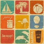 Lot d'étiquettes de voyage vintage — Vecteur