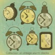 Vintage Alarm Clocks — Stock Vector