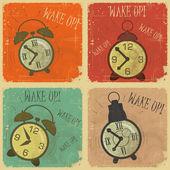 Rétro horloge d'alarme avec le texte: réveillez-vous! — Vecteur
