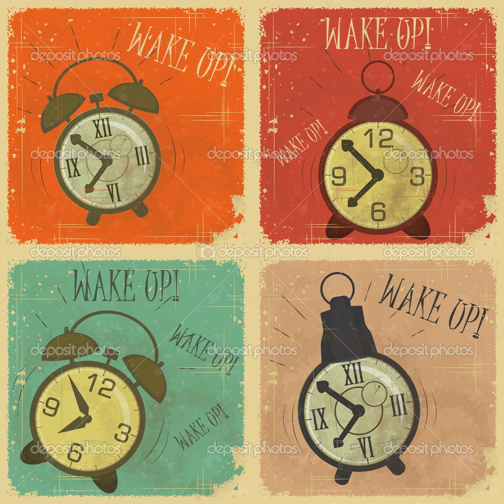 Set of Vintage  Labels - Retro cards with Grunge Effect - Retro Alarm Clock with text: Wake up! - vector illustration — Stock Vector #10553635
