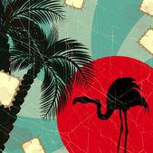 レトロなブルーの熱帯背景フラミンゴ — ストックベクタ