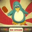 Penguin with ice cream — Stock Vector