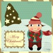 Christmas card in vintage style - Stock Vector