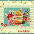 Birthday card with candy houses — Stock Vector