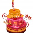 Stock Vector: Big strawberry birthday cake