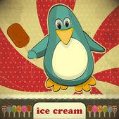 Penguin with ice cream — Stock Vector