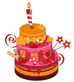 Big strawberry birthday cake — Stock Vector