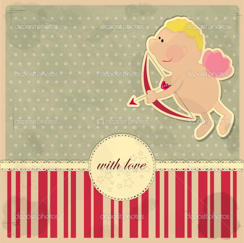 Cards for Valentine's Day in vintage style with Cupid — Stock Vector #8174731
