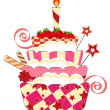 Big strawberry birthday cake — Imagen vectorial