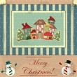 Christmas card in vintage style - 图库矢量图片