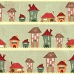 Retro houses - christmas seamless — Stock Vector