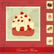 Vintage card with a strawberry and chocolate cake — Stock Vector