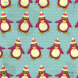 Christmas seamless texture - Penguins on blue background — Stock Vector #8191339