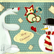 Snowman and polar bear - Stok Vektr