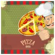 Vintage menu - chef and a pizza on grunge background — Stock Vector