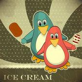 Penguin with ice cream — Stok Vektör
