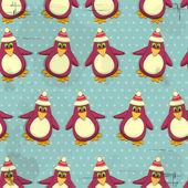 Бесшовный фон Рождество - Пингвины на синем фоне — Cтоковый вектор