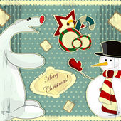 Snowman and polar bear — Stock Vector