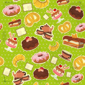 Vintage seamless background with dessert — Stock Vector