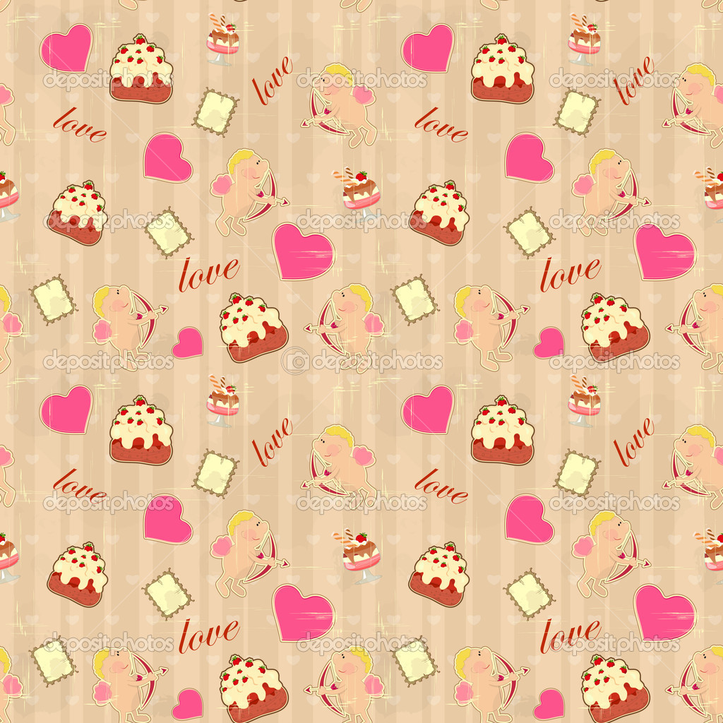 Seamless background for Valentine's Day in vintage style with Cupid — Stock Vector #8191203