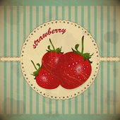 Strawberry vintage card — Stock Vector