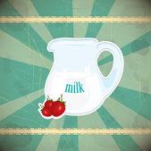 Jug of milk on vintage background — Stock Vector