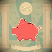 Pink piggy bank - vintage card — Stock Vector