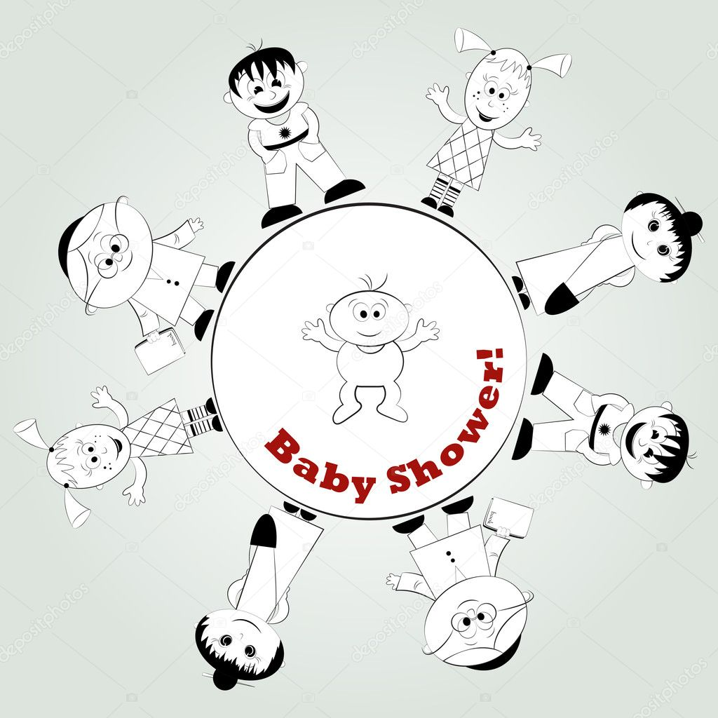 Baby card - happy family - vector illustration — Stock Vector #8529250