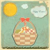 Påskkort i vintage stil - korg med påskägg — Stockvektor