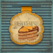 Vintage dessert menu card - label with cake — Imagen vectorial