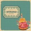 Vintage birthday card with cake and retro label — Stock Vector