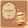 Vintage birthday card with cake and retro label — Stok Vektör