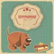 Vintage birthday card with cake, dog and retro label — Imagen vectorial