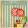Vintage postcard - sweet candy on striped background — 图库矢量图片
