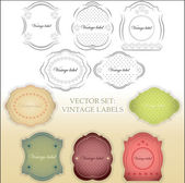 Vintage labels set - color and black and white version — Stock Vector