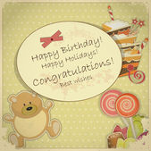 Vintage Birthday Card - with bear, candy and cake — Stock Vector