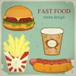 Vintage fast food menu - the food on blue grunge background - Stock Vector