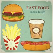 Vintage fast food menu - the food on blue grunge background — Stock Vector